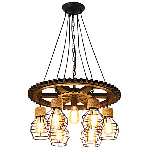 cheap Island Lights-7-Light 60 cm Creative Chandelier Wood / Bamboo Industrial Painted Finishes / Wood Retro 110-120V / 220-240V