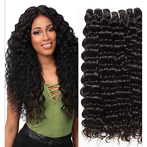 cheap 3 Bundles Human Hair Weaves-3 Bundles Hair Weaves Brazilian Hair Deep Wave Human Hair Extensions Remy Human Hair 100% Remy Hair Weave Bundles 300 g Natural Color Hair Weaves / Hair Bulk Human Hair Extensions 8-28 inch Natural