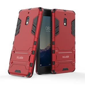 cheap Other Phone Case-Case For Nokia Nokia 2.1 Shockproof / with Stand Back Cover Solid Colored Hard PC