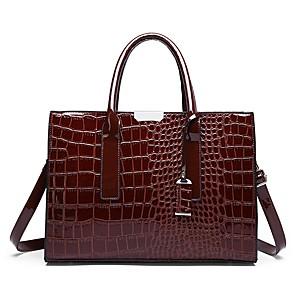 cheap Handbag & Totes-Women's Zipper PU Tote Crocodile Wine / Black / Red / Fall & Winter