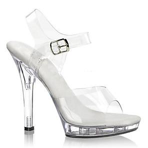 cheap Women's Sandals-Women's Heels Jelly Sandals Stiletto Heel Buckle PVC Club Shoes / Lucite Heel Spring / Summer Black / White / Wedding / Party & Evening / Party & Evening / EU40