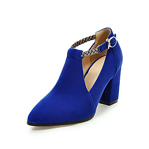 cheap Women's Boots-Women's Synthetics Spring & Summer Heels Chunky Heel Pointed Toe Buckle Black / Red / Blue / Party & Evening