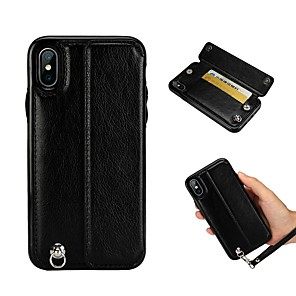 cheap Bluetooth Car Kit/Hands-free-Case For Apple iPhone XS / iPhone XR / iPhone XS Max Card Holder / Shockproof / with Stand Back Cover Solid Colored Hard PU Leather