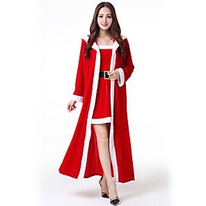 economico Costumi da Babbo Natale & Costumi di Natale-Santa Clothe Adulto Per donna Halloween Natale Natale Halloween Carnevale Feste / vacanze Poliestere Rosso Costumi carnevale Tinta unita Natale