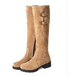 cheap Women's Boots-Women's Boots Knee High Boots Flat Heel Closed Toe Suede Knee High Boots Winter Black / Yellow / Beige