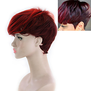 cheap Synthetic Trendy Wigs-Synthetic Wig Yaki Straight Free Part Wig Short Black / Red Synthetic Hair 8INCH Women's Adjustable Heat Resistant Synthetic Red