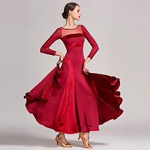 cheap Latin Dancewear-Ballroom Dance Dress Split Joint Women's Training Performance Long Sleeve High Tulle Pleuche Milk Fiber
