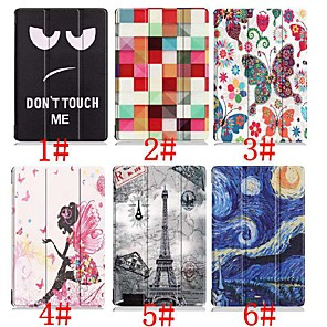 cheap Samsung Case-Case For Samsung Galaxy Tab S4 10.5 (2018) / Tab A2 10.5(2018) with Stand / Flip / Origami Full Body Cases Butterfly / Sexy Lady / Eiffel Tower Hard PU Leather