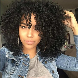 cheap Synthetic Trendy Wigs-Synthetic Extentions Afro Curly Bouncy Curl Asymmetrical With Bangs Wig Short Natural Black Black / Brown Synthetic Hair 14 inch Women's Women Black Dark Brown