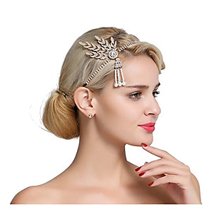cheap Historical & Vintage Costumes-The Great Gatsby Charleston Vintage 1920s Roaring 20s Flapper Headband Women's Feather Costume Head Jewelry Black / Golden / White Vintage Cosplay Party Prom Sleeveless / Headwear / Umbrella