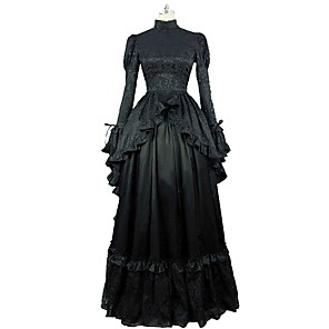 cheap Lolita Dresses-Rococo Victorian 18th Century Dress Women's Lace Costume Black Vintage Cosplay Party Prom Long Sleeve Ball Gown Plus Size Customized