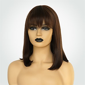 cheap Human Hair Capless Wigs-Human Hair Blend Wig Medium Length Natural Straight Bob Blonde Brown Fashionable Design New Design Comfortable Capless Women's Brown 14 inch / Natural Hairline / Natural Hairline