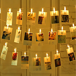 cheap LED String Lights-2M 20 pcs LED Photo String Lights 20 Photo Clips Battery Powered or USB Interface Fairy Twinkle LightsHanging Photos Cards and Artwork Warm White