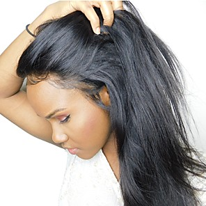 cheap Human Hair Wigs-Remy Human Hair 360 Frontal Deep Part Lace Front Lace Front Wig Deep Parting Kardashian style Brazilian Hair Silky Straight Natural Wig 150% Density 10-22 inch with Baby Hair Natural Hairline African