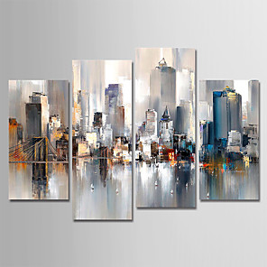 cheap Abstract Paintings-Hand-Painted Canvas Oil Painting Abstract City Landscape Set Of 4 For Home Decoration With Frame Ready To Hang