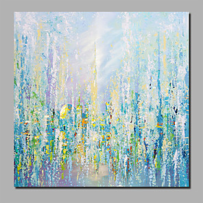 cheap Abstract Paintings-Oil Painting Hand Painted - Abstract Floral / Botanical Comtemporary Modern Stretched Canvas / Rolled Canvas