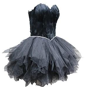 cheap Historical & Vintage Costumes-Black Swan Little Black Dress Elegant Dress Masquerade Women's Tulle Costume Black / White Vintage Cosplay Homecoming Sleeveless