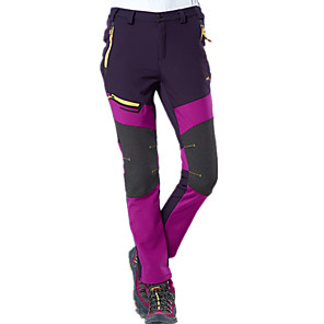cheap Softshell, Fleece & Hiking Jackets-Women's Hiking Pants Softshell Pants Winter Outdoor Thermal / Warm Waterproof Windproof Breathable Fleece Pants / Trousers Bottoms Purple Army Green Dark Gray Camping / Hiking Hunting Fishing S M L