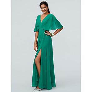 cheap Bridesmaid Dresses-Sheath / Column V Neck Floor Length Chiffon Bridesmaid Dress with Split Front / Sparkle & Shine