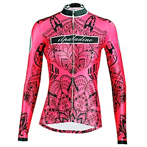 cheap Cycling Jerseys-ILPALADINO Women's Long Sleeve Cycling Jersey Winter Elastane Red Floral Botanical Bike Top Mountain Bike MTB Road Bike Cycling Breathable Quick Dry Ultraviolet Resistant Sports Clothing Apparel