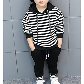 cheap Kids' Boots-Toddler Boys' Basic Striped Long Sleeve Cotton Clothing Set Black