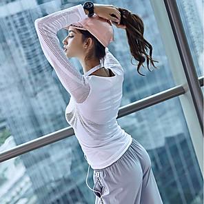 povoljno Odjeća za fitness, trčanje i jogu-Žene Izrezati Futópóló Yoga Top Jedna barva Zumba Yoga Trčanje T-majica Majice Dugih rukava Odjeća za rekreaciju Prozračnost Izzadás-elvezető Sloboda Mikroelastično Slim