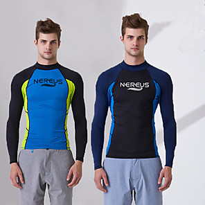 cheap Wetsuits, Diving Suits & Rash Guard Shirts-Men's Elastane UV Sun Protection Long Sleeve Swimming Surfing Snorkeling / Stretchy