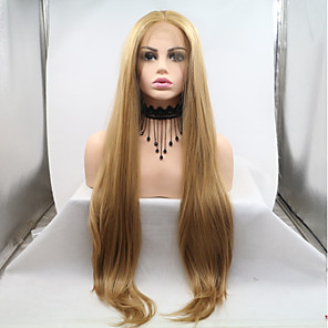 cheap Synthetic Lace Wigs-Synthetic Lace Front Wig kinky Straight Layered Haircut Lace Front Wig Blonde Long Light golden Synthetic Hair 20-26 inch Women's Women Blonde Sylvia