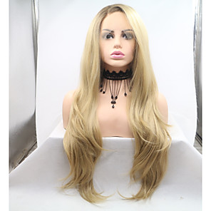 cheap Synthetic Trendy Wigs-Synthetic Lace Front Wig Body Wave Layered Haircut Lace Front Wig Blonde Medium Length Golden Blonde Synthetic Hair 26 inch Women's Women Blonde Sylvia