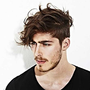 cheap Synthetic Trendy Wigs-Men's Human Hair Toupees Straight 100% Hand Tied / Lace Front Soft