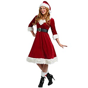 cheap DIY Kits-Santa Clothes Adults' Highschool Women's Halloween Christmas Christmas Halloween Carnival Festival / Holiday Polyster Red Women's Carnival Costumes Solid Colored Christmas / Dress / Hat / Dress / Hat