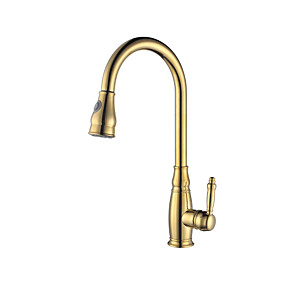 cheap Bathroom Sink Faucets-Kitchen faucet - Contemporary Ti-PVD Pull-out / Pull-down Vessel / Brass / Single Handle One Hole