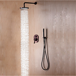 cheap Shower Faucets-Shower Set Set - Rainfall Contemporary / Simple / Modern Style Oil-rubbed Bronze Wall Mounted Ceramic Valve Bath Shower Mixer Taps / Brass / Single Handle Three Holes