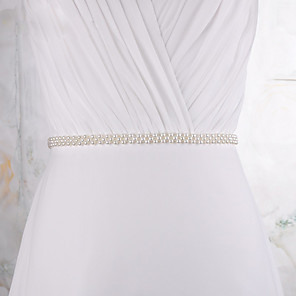 cheap Party Sashes-Polyester / Polyamide Wedding / Party / Evening Sash With Imitation Pearl Women's Sashes