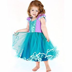 cheap Movie & TV Theme Costumes-The Little Mermaid Cosplay Costume Flower Girl Dress Kid's Girls' A-Line Slip Dresses Christmas Halloween Carnival Festival / Holiday Tulle Cotton Green Carnival Costumes Mermaid