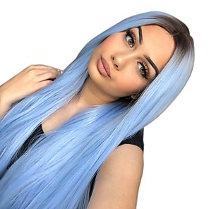 cheap Synthetic Lace Wigs-Synthetic Lace Front Wig Ombre Straight Middle Part Lace Front Wig Ombre Long Black / Blue Synthetic Hair 22-26 inch Women's Heat Resistant Women Ombre Hair Ombre