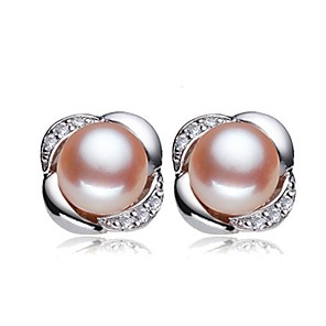 cheap Earrings-Freshwater Pearl Earrings Pearl Pink Pearl For Women's Round Glam Elegant Fashion Party Event / Party High Quality Flower Flower Series 1 Pair / S925 Sterling Silver
