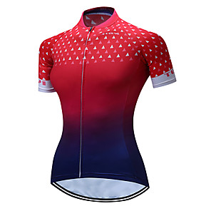 cheap Cycling Jerseys-Women's Short Sleeve Cycling Jersey Polyester Red+Blue Gradient Plus Size Bike Jersey Top Mountain Bike MTB Road Bike Cycling Breathable Quick Dry Moisture Wicking Sports Clothing Apparel / Stretchy