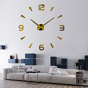 cheap Wall Clocks-Modern Contemporary / DIY Stainless steel Round Classic Theme Indoor AA Batteries Powered Decoration Wall Clock Digital Stainless Steel / Mirror Polished No