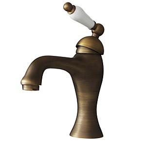 cheap Bathroom Gadgets-Bathroom Sink Faucet - Rotatable Antique Brass Centerset One Hole / Single Handle One HoleBath Taps