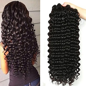 cheap Human Hair Weaves-4 Bundles Malaysian Hair Deep Wave Human Hair 200 g Wig Accessories Hair Care One Pack Solution 8-28 inch Natural Color Human Hair Weaves Smooth Woven Best Quality Human Hair Extensions