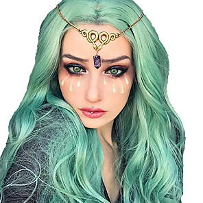 cheap Synthetic Lace Wigs-Synthetic Wig Synthetic Lace Front Wig Cosplay Wig Wavy Bouncy Curl Layered Haircut Side Part Lace Front Wig Medium Length Blue Synthetic Hair 35.5 inch Women's Fashionable Design Easy to Carry Women