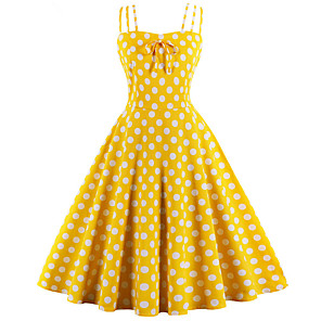 cheap Historical & Vintage Costumes-Audrey Hepburn Polka Dots Retro Vintage 1950s Summer Dress Women's Cotton Costume White / Black / Yellow Vintage Cosplay Homecoming Sleeveless Knee Length