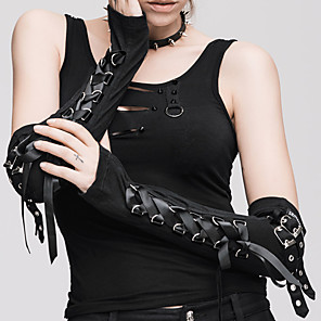 cheap Wedding Wraps-Plague Doctor Retro Vintage Steampunk Gloves Women's Cotton Costume Black / Red Vintage Cosplay Party