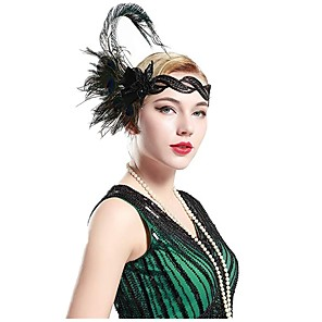 cheap Historical & Vintage Costumes-The Great Gatsby Charleston Vintage 1920s The Great Gatsby Roaring 20s Headpiece Flapper Headband Women's Tassel Costume Head Jewelry Green Vintage Cosplay Party Prom / Headwear / Headwear