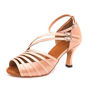cheap Latin Shoes-Women's Dance Shoes Satin Latin Shoes Buckle Heel / Sneaker Slim High Heel Customizable Dark-Gray / Nude / Performance / Leather