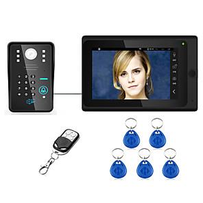 cheap Video Door Phone Systems-7inch Wired / Wireless Wifi RFID Password Video Door Phone Doorbell Intercom  System upport Remote APP unlocking Recording Snapshot
