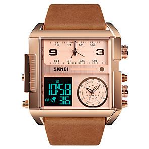 cheap Quartz Watches-SKMEI Men's Sport Watch Military Watch Digital Watch Digital Oversized Genuine Leather Black / Brown 30 m Water Resistant / Waterproof Alarm Calendar / date / day Analog - Digital Luxury Fashion fancy