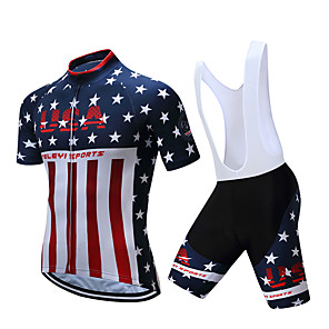 cheap Cycling Jersey & Shorts / Pants Sets-Men's Short Sleeve Cycling Jersey with Bib Shorts Polyester Black White American / USA National Flag Bike Clothing Suit Breathable Moisture Wicking Sports American / USA Mountain Bike MTB Road Bike