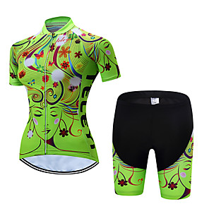 cheap Triathlon Clothing-Women's Short Sleeve Cycling Jersey with Shorts Polyester Yellow Red Pink Floral Botanical Bike Clothing Suit Breathable Quick Dry Moisture Wicking Sports Floral Botanical Mountain Bike MTB Road Bike